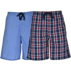 Hanes Mens Ultimate 2-pk Navy Plaid Lounge Shorts