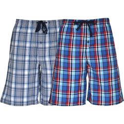 Hanes Mens Ultimate 2-pk Red Plaid Lounge Shorts