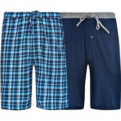 Hanes Mens Ultimate 2-pk Blue Plaid Striped Lounge Shorts
