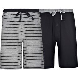 Hanes Mens Ultimate 2-pk Black Striped Lounge Shorts