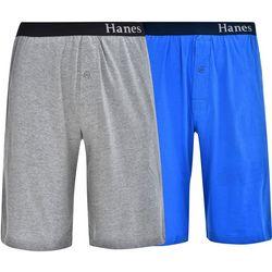 Hanes Mens Ultimate 2-pk Blue & Grey Lounge Shorts