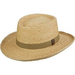 Scala Mens Gambler Straw Hat With Golf Badge