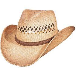 Scala Mens Burnt Pinch Front Raffia Cowboy Hat