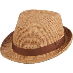 Scala Mens Crocheted Raffia Fedora Hat