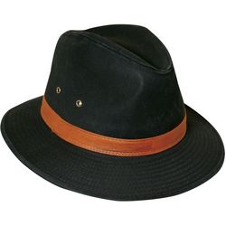 Dorfman Pacific Mens Black Washed Twill Safari Hat
