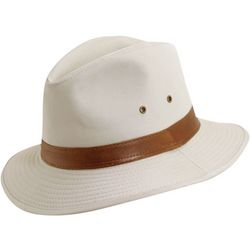 Dorfman Pacific Mens Putty Washed Twill Safari Hat