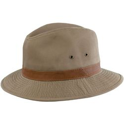 Dorfman Pacific Mens Bark Washed Twill Safari Hat