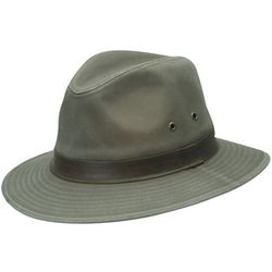 Dorfman Pacific Mens Olive Washed Twill Safari Hat