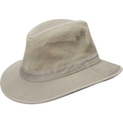 Dorfman Pacific Mens Washed Twill Mesh Safari Hat