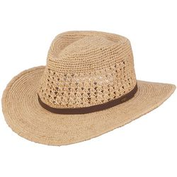 Scala Mens Fine Crochet Raffia Outback Hat
