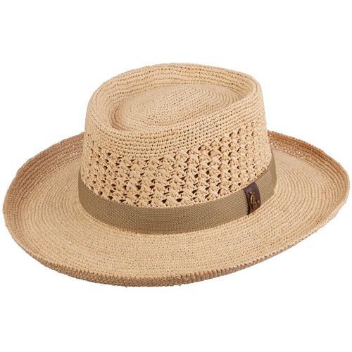 2ec761b90c8ee Scala Mens Fine Crochet Raffia Gambler Hat