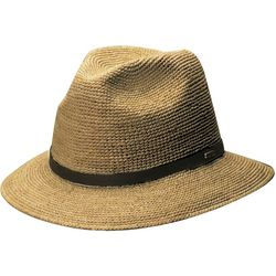 Scala Mens Fine Crochet Raffia Safari Hat