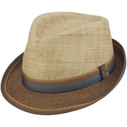 Scala Mens Raffia Matte Braided Fedora Hat