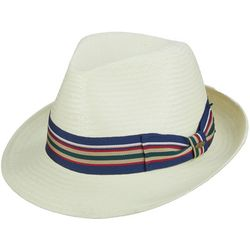 Scala Mens Straw Toyo Fedora with Ribbon