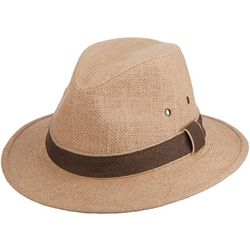Dorfman Pacific Mens Hemp Safari Hat With Leather Trim