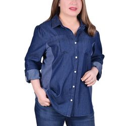 NY Collection Plus 3/4 Sleeve Denim Blouse