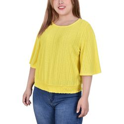 NY Collection Plus Eyelet Knit Top