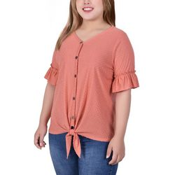 NY Collection Plus Swiss Dot Ruffle Sleeve Blouse