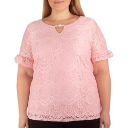 NY Collection Plus Short Ruffle Sleeve Lace Top
