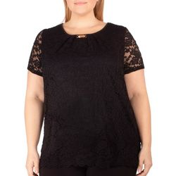 NY Collection Plus Tulip Sleeve Lace Top