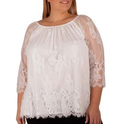 NY Collection Plus Scalloped Hem Peasant Top