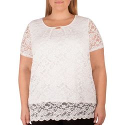 NY Collection Plus Jewel Neck Lace Top