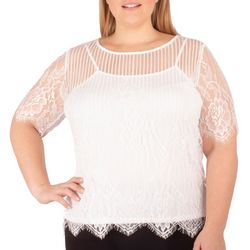 NY Collection Plus Jewel Neck Lace Top with Camisole