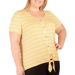 NY Collection Plus Stripe Button Front Tie Top