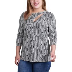 NY Collection Plus Keyhole Neckline 3/4 Sleeve Top