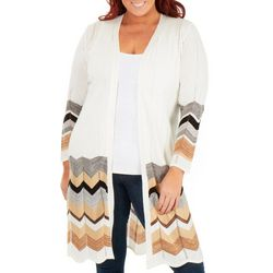 NY Collection Plus Chevron Open Front Cardigan