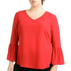 Plus Bell Sleeve Pointed High Low Top