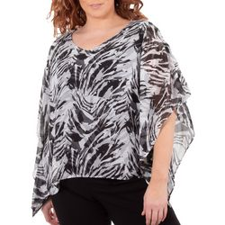 NY Collection Plus Slit Sleeve Animal Print Poncho