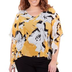 NY Collection Plus Slit Sleeve Floral Poncho