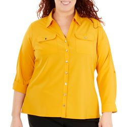 NY Collection Plus Roll Tab Button Down Blouse