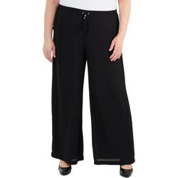 NY Collection Plus Solid Tassel Tie Polazzo Pants