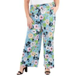 NY Collection Plus Floral Smocked Waistband Pants