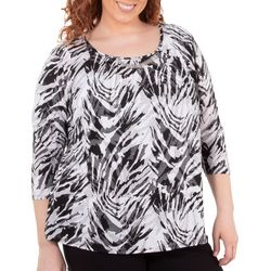 NY Collection Plus Graphic Print Front Pleated Top