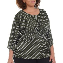 NY Collection Plus Stripe Twist Front Top