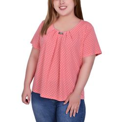 NY Collection Plus Pleated Short Sleeve Blouse