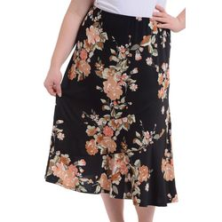 Plus Print Tiered A-Line Skirt