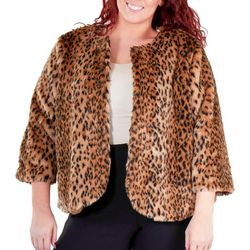 NY Collection Plus Cropped Cheetah Faux Fur Jacket