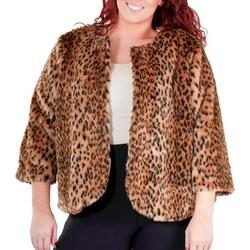 Plus Cropped Cheetah Faux Fur Jacket