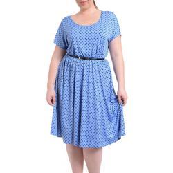 Plus Belted Polka Dot A-Line Dress