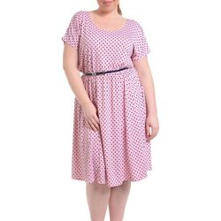 NY Collection Plus Belted Polka Dot A-Line Dress