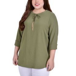 NY Collection Plus Tie Neck Blouse