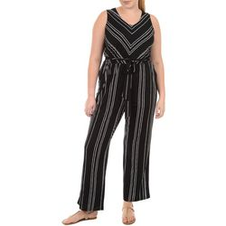 NY Collection Plus Stripe Sleeveless Jumpsuit
