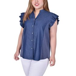 NY Collection Plus Wide Flange Chambray Blouse