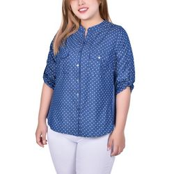 NY Collection Plus Dots Print Chambray Blouse