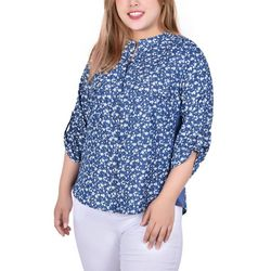 NY Collection Plus Floral Print Chambray Blouse