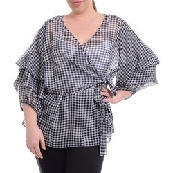 NY Collection Plus Gingham Chiffon Wrap Top